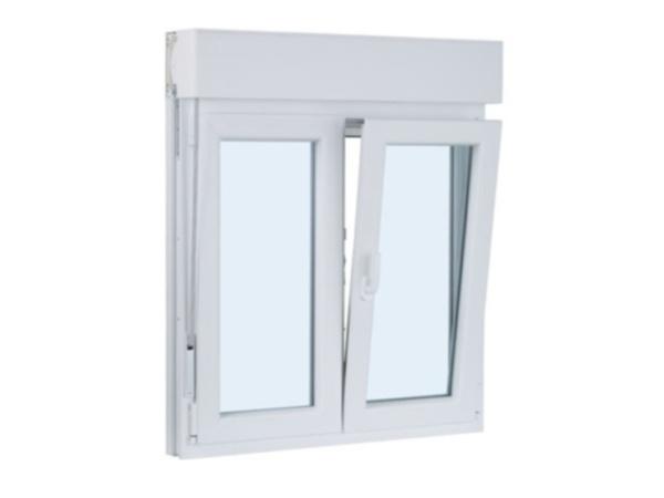 ventana de pvc dos hojas practicable y oscilobatiente con persiana 1100 mm x 1100 mm