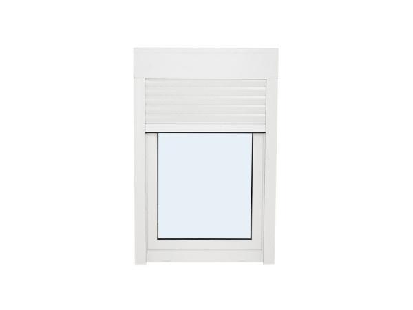 ventana de pvc una hoja practicable y oscilobatiente con persiana 1000 mm x 1000 mm