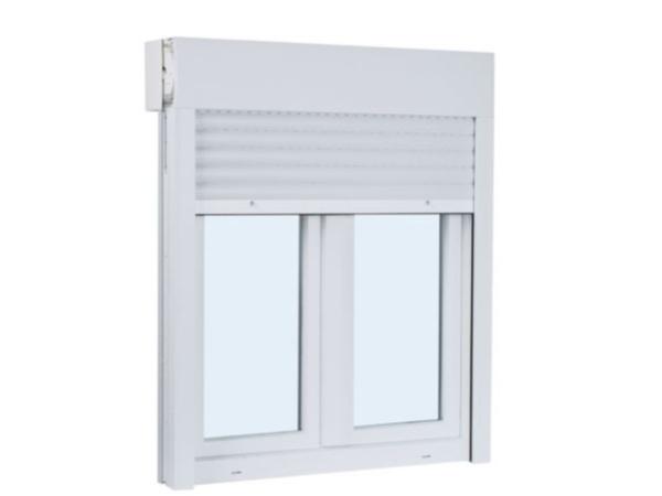 ventana de pvc dos hojas practicable y oscilobatiente con persiana 1300 mm x 1300 mm